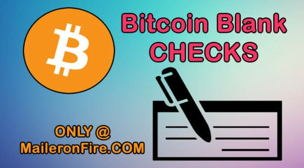 Bitcoin Blank Check Referral Contest at Mailer oo Fire